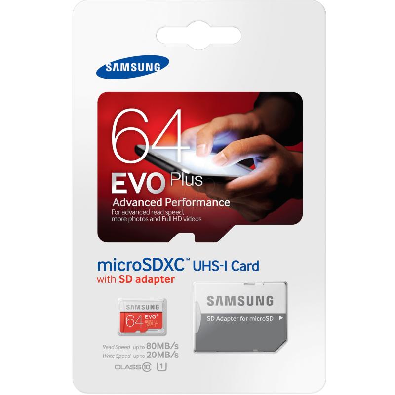 SAMSUNG MICROSDXC 64GB CLASS10 UHS-I EVO+ 80MB/S