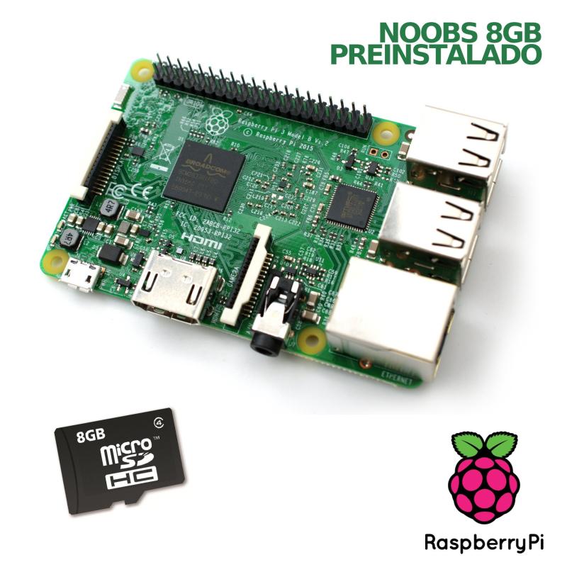 KIT RASPBERRY PI 3 - MODELO B + MICROSD 8GB CON NOOBS