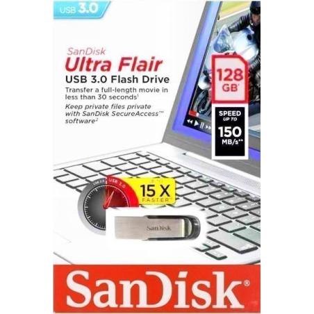 SANDISK PENDRIVE ULTRA FLAIR 128GB USB 3.0 150MB/S