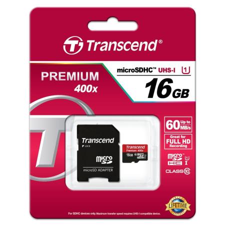 TRANSCEND PREMIUM MICROSDHC 16GB CLASS10 UHS-I 60MB/S TS16GUSDU1