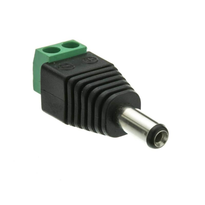 CONECTOR DC JACK MACHO 5,5X2,1mm CON BLOQUE TERMINAL 2 PIN