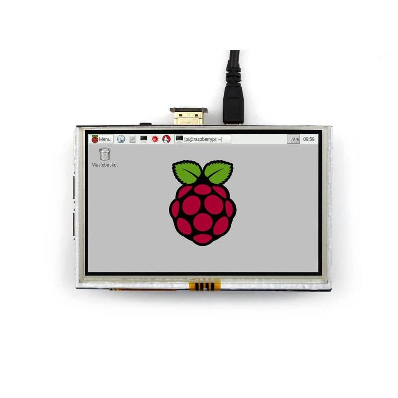 """PANTALLA LCD TACTIL 5"""" 800X480 HDMI PARA RASPBERRY PI"""