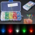 KIT 500 DIODOS LED ALTO BRILLO 3MM 5 COLORES