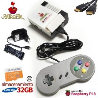 CONSOLA RETROPIE ARCADE BASADA EN RASPBERRY PI 3 CON GAMEPAD SNES USB (32GB)