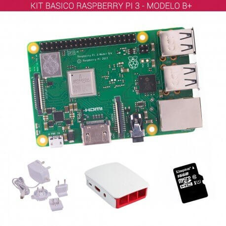 RASPBERRY PI 3 - MODELO B+ - KIT BASICO (16GB BLANCO)