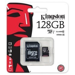 KINGSTON TARJETA MICROSDXC 128GB CLASS10 UHS-I 45MB/S SDC10G2/128GB