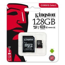 KINGSTON CANVAS SELECT MICROSDHC 128GB CLASS10 UHS-I 80MB/S SDCS/128GB
