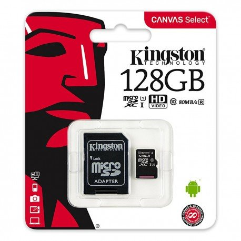 KINGSTON CANVAS SELECT MICROSDHC 128GB CLASS10 UHS-I 80MB/S SDCS/128GB