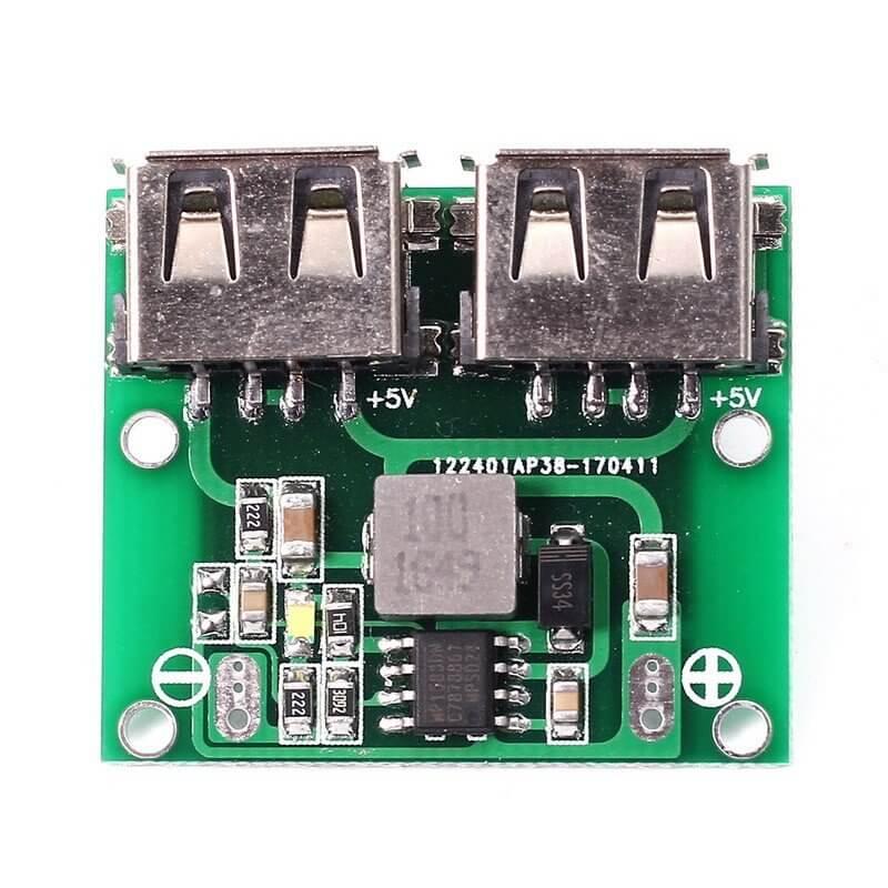 MODULO DC STEP-DOWN 9V~24V CONVERSOR 5V 3A DOBLE SALIDA USB-A/H