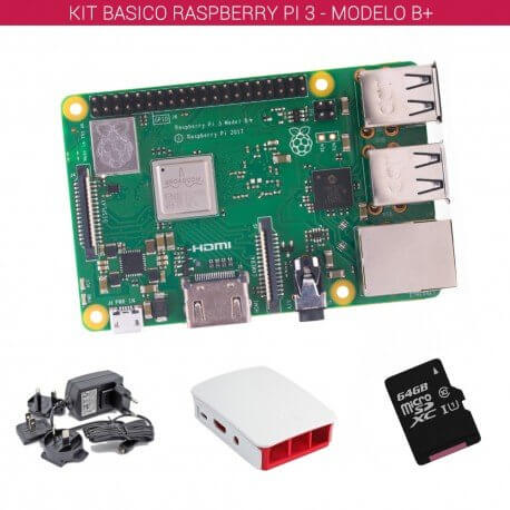 RASPBERRY PI 3 - MODELO B+ - KIT BASICO (64GB BLANCO)