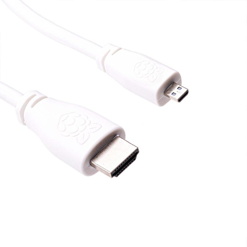 CABLE MICRO HDMI (TIPO D) 1M. BLANCO OFICIAL RASPBERRY PI