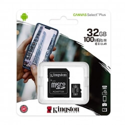KINGSTON CANVAS SELECT PLUS MICROSDHC 32GB CLASS10 UHS-I A1 100MB/S