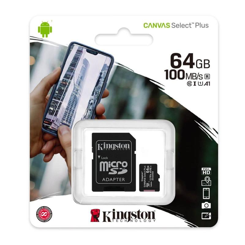 KINGSTON CANVAS SELECT PLUS MICROSDXC 64GB CLASS10 UHS-I A1 100MB/S
