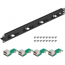 "UCTRONICS for Raspberry Pi Rack with Micro HDMI Adapter Boards, 19"" 1U Rack Mount Supports 1-4 Units of Raspberry Pi 4 Mode"