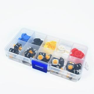 KIT 25 MICROPULSADORES 12x12x7,3mm CON BOTONES COLORES
