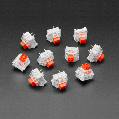PULSADOR MECANICO KAILH - LINEAR RED - PACK 10 - COMPATIBLE CHERRY MX RED