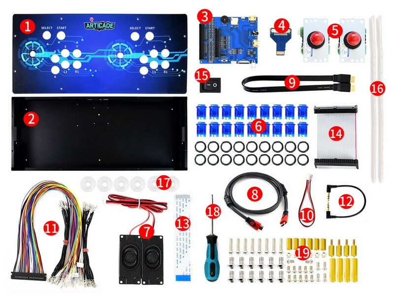 Componentes incluidos Waveshare Kit Arcade Console 2 players