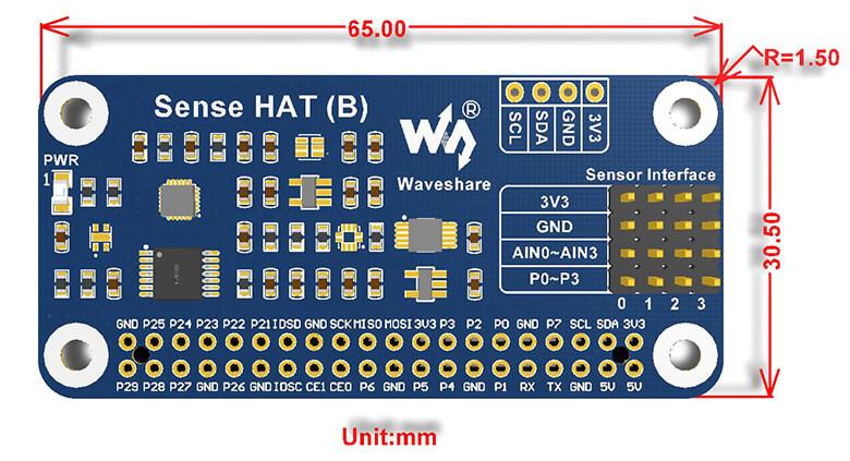 Sense HAT de Waveshare - Dimensiones