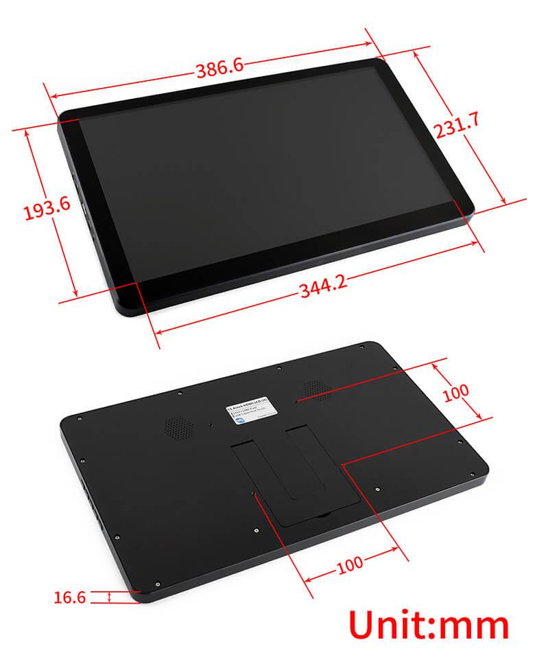 "Waveshare Monitor 15,6"" táctil (dimensiones)"