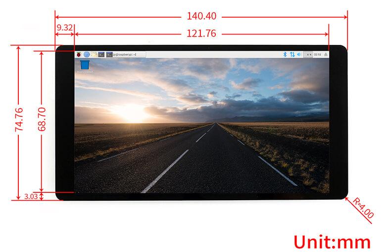 "Waveshare pantalla AMOLED 5,5"" (dimensiones)"