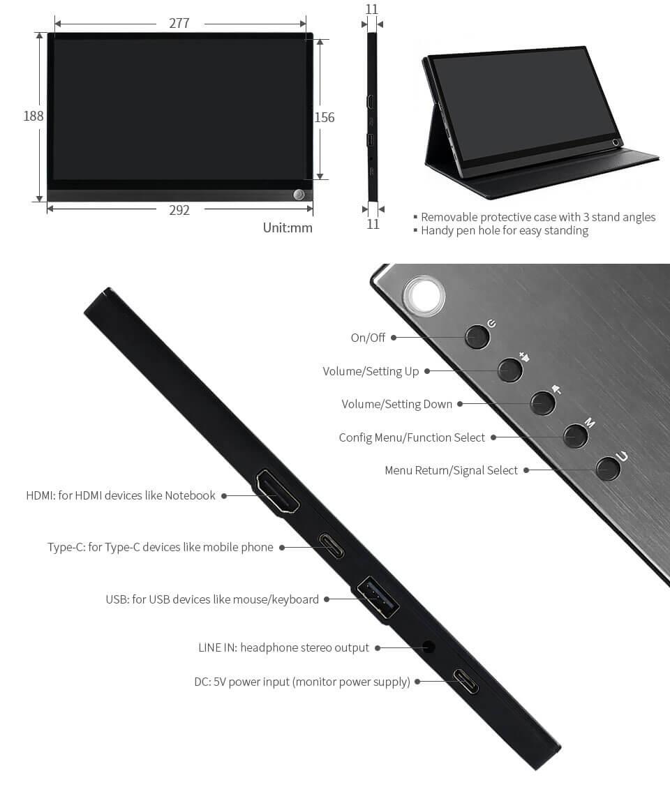 Pantalla USB-C táctil para Raspberry Pi y nVidia Jetson Nano