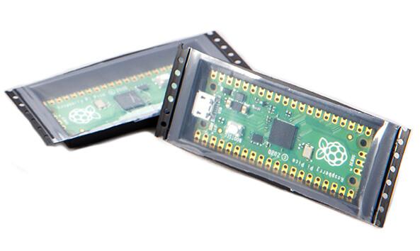 Rspberry Pi Pico en carrete de componentes