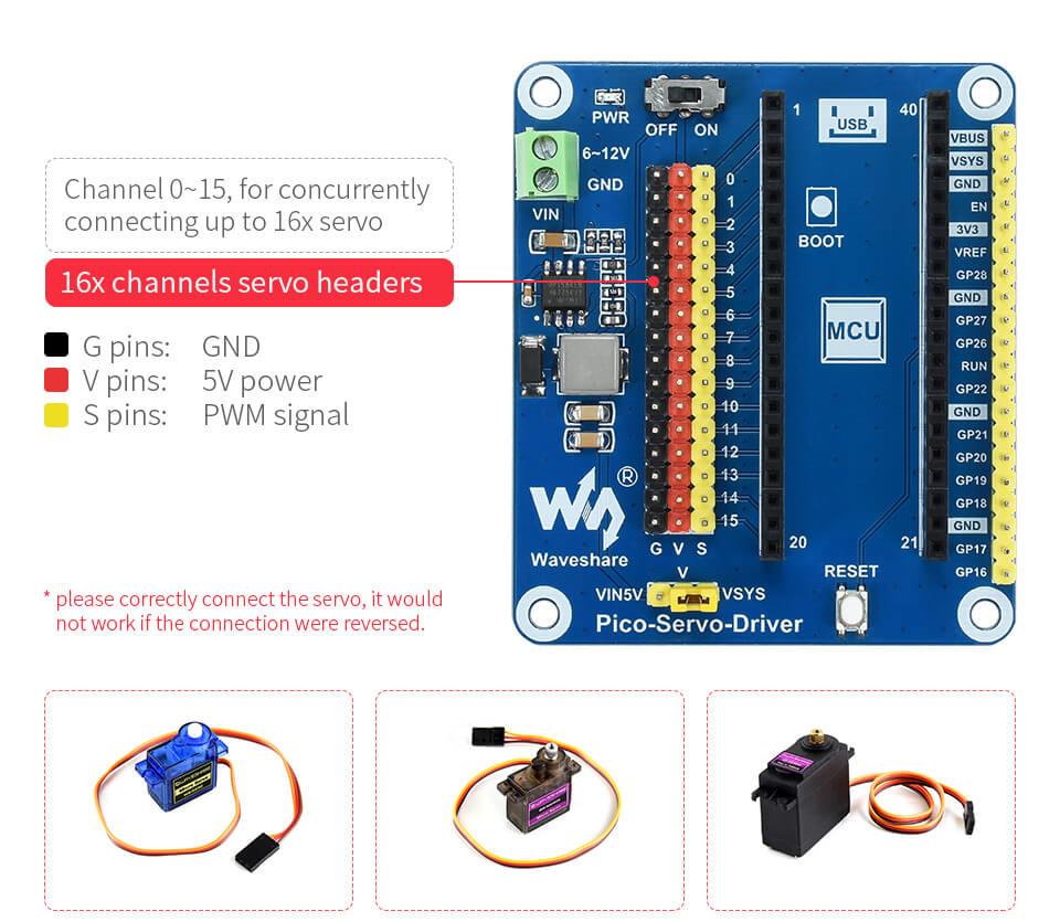 Módulo driver para servos con Raspberry Pi Pico