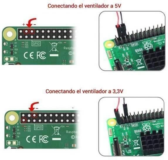 Forma de conectar el ventilador a la Raspberry Pi