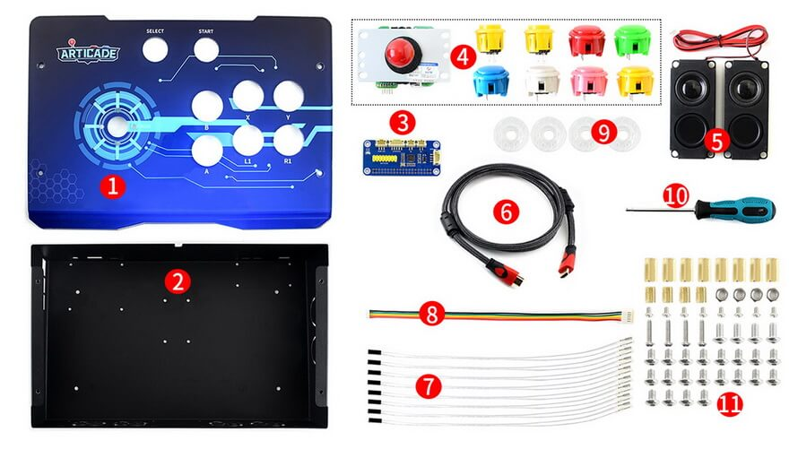 Componentes incluidos Waveshare Kit Arcade Console 1 player